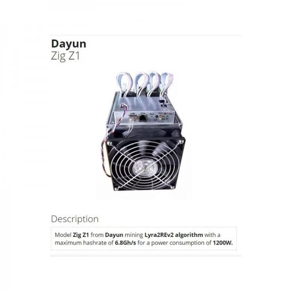 آنت ماینر Zig Z1 Dayun 6.8 GH/s Lyra2Re